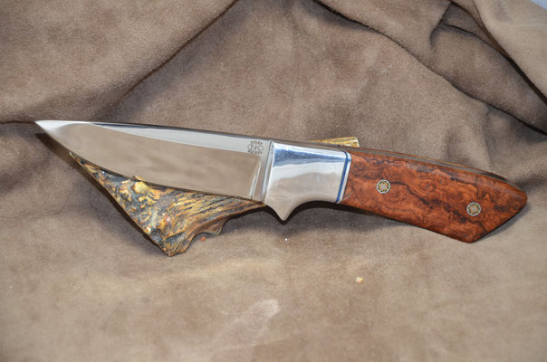 """#223 Full tang drop point.  Blade length 4 1/4' Overall 9 1/4"""". Made with 440C.  Birdseye Maple Burl with aluminum bolsters.  Made RD Nolen $275"""
