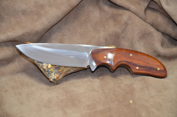 "#236 Rio Grande Skinner.  Blade length 4 1/4"" Overall 8 3/4"" Made with 440C.  Dymondwood (heritage walnut) handle.  Maker RD Nolen  $275 SOLD"