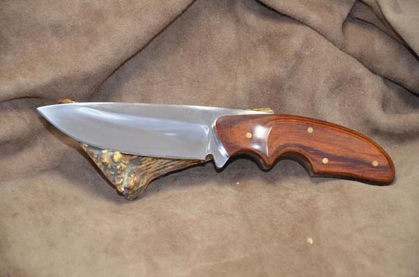"#236 Rio Grande Skinner.  Blade length 4 1/4"" Overall 8 3/4"" Made with 440C.  Dymondwood (heritage walnut) handle.  Maker RD Nolen  $275 SOLD"