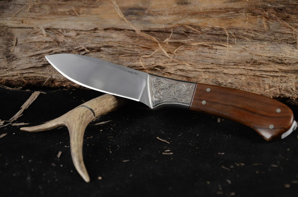 """#93 Full Tang Drop Point.  Blade length 3 1/2"""" Overall 8 1/4""""  Made with 440C.  Handle Padauk with engraved nickel silver bolsters.  Maker RD Nolen  $400"""