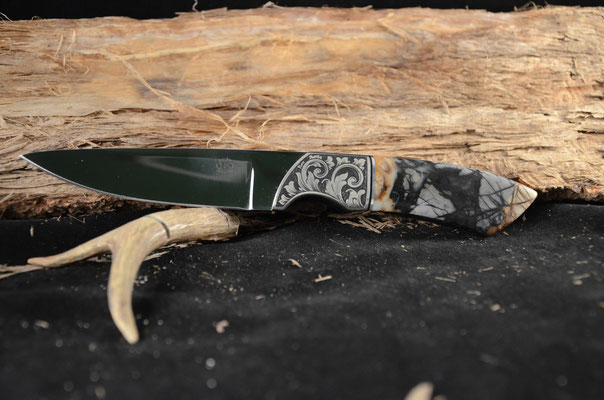 "#104 Gentlemans Caper.  Blade length 4"" Overall 9"" Made with 440C.  Stone handle with engraved nickel silver bolsters.  Maker RD Nolen  $1000"