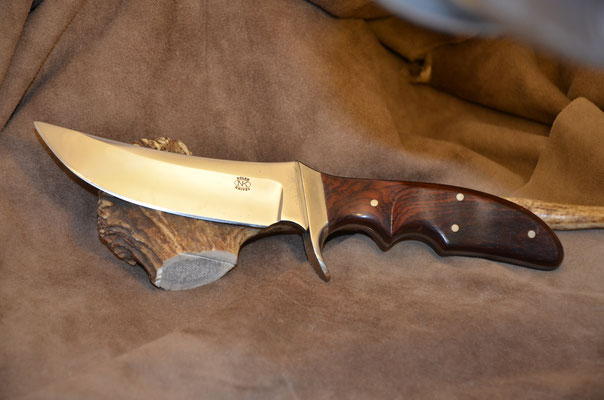 """#163 Full tang white tail hunter.  Blade length 4 3/4"""" Overall 9 3/4"""" 440c steel.  Handle cocobolo with nickel silver guard.  Maker RD Nolen  $275"""