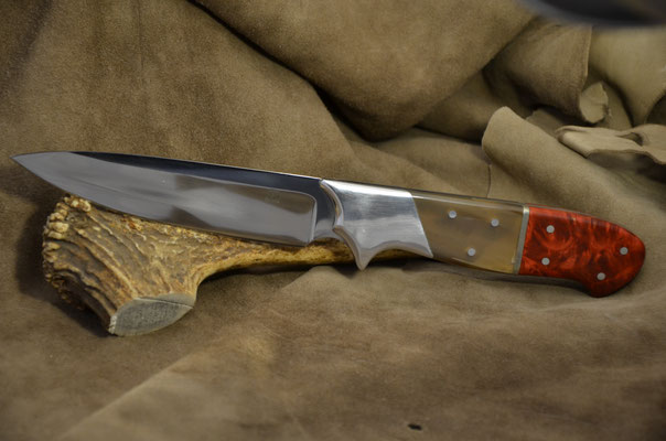 """#155 Full tang drop point.  Blade 5 1/4"""" Overall 10 3/4"""" Made with 440C. Kudu horn and stabilized maple burl with aluminum bolster handle.  Maker RD Nolen  $300"""