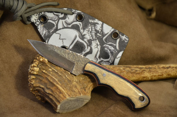 """#167 Neck knife.  Blade length 2 3/4"""" Overall 5 3/4"""".  Made with 440C.  Hammer finish.  Red-White-Blue wood macarta handle.  Maker Steve Nolen SOLD"""