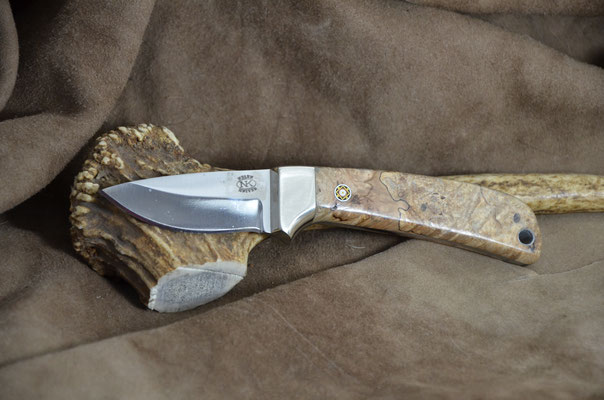 """#177 Full tang mini hunter.  Blade length 2 1/2"""" Overall 6 1/2"""" Made with D2.  Stabilized spalted maple with nickel silver bolster handle.  Maker Steve Nolen  $225"""