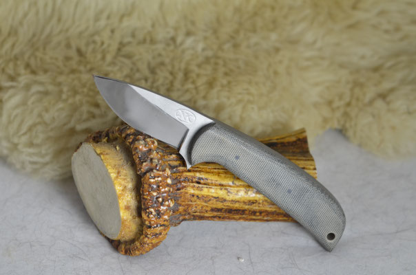 "#32  Utility knife.  Blade length 2 1/2"" Overall 6 1/2"" 440c steel with bead blast finish.  Handle black canvas macarta.  Maker Steve Nolen   $150"