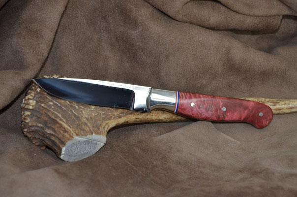 "#179 Nolen Steak Knife.  Blade length 3 5/6"" Overall 7 7/8"" Made with 440C.  Stabilized maple burl with nickel silver bolster handle.  Maker Steve Nolen  $225"