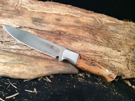 """#142 Full tang drop point.  Blade 5"""" Overall 9 1/2"""" 440c steel.  Handle ashwood burl with aluminum bolster.  Made with RD Nolen  $250"""