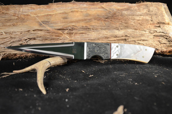 """#105 Gentleman's Double Edge Dirk.  Blade length 5"""" Overall 10"""".  Made with 440C.  Engraved Nickel Silver Bolsters.  Mother of Pearl Handle.  Maker RD Nolen  $900"""
