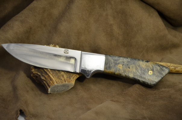 """#153 Full tang drop point.  Blade length 4 3/8"""" Overall 9 1/2"""" Made with 440C.  Stabilized maple burl with aluminum bolster handler.  Maker RD Nolen  $300"""