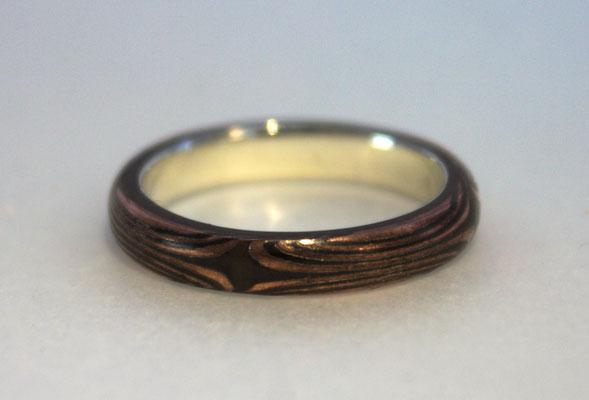 Ring; Mokume Gane Silber/Kupfer, geätzt und gebeitzt
