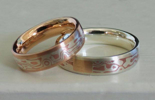 Trauringe; Mokume Gane (925/_ Silber&Kupfer), 585/_ Rotgold, 925/_ Silber