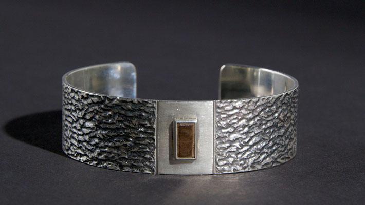 Armspange; 925/_ Silber, Holz