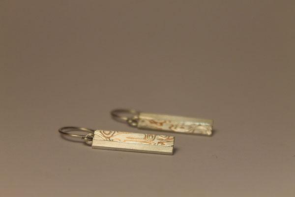 Ohrhänger; 925/_ Silber und Mokume Gane Silber/Kupfer