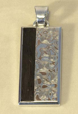 Anhänger; 925/_ Silber, Mokume Gane Silber/Kupfer und Mooreiche