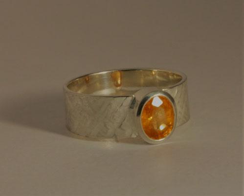 Ring; 925/_ Silber, Stein: Mandaringranat