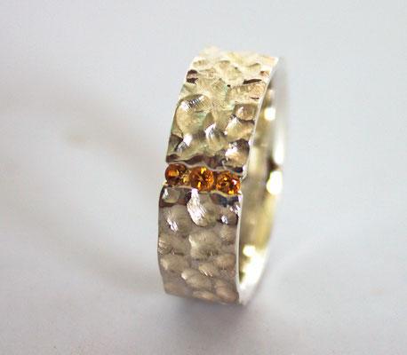 Ring; 925/_ Silber, Steine: Citrin