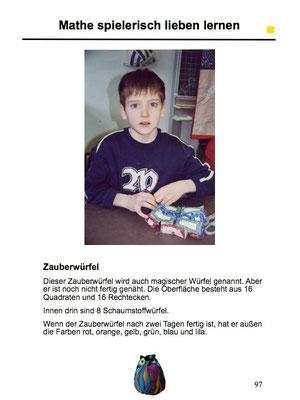 My oldest son, age 8, sewing a Zauberwürfel.