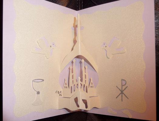 Und so sieht der Prototyp der 3D Kommunionkarte aus.