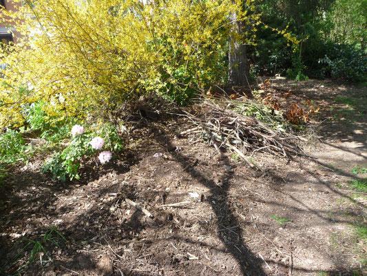 Alle Stöcker, die hier zwischengelagert waren, sind im Keyhole Garden verschwunden.