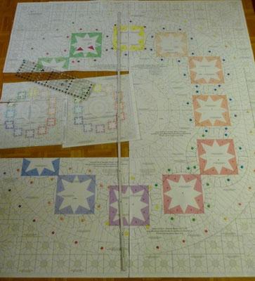 Tür 16, 17, 19, 20 und 21 in Originalgröße wie später der Quilt.