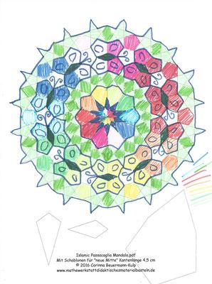 Millefiori Rosette als Mandala mit einem islamischen Stern in der Mitte.