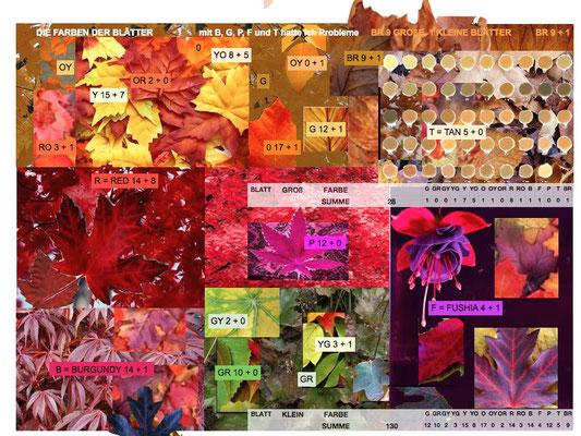 Vorarbeiten für den Herbstlaubquilt: Collage aus Farben der Natur.