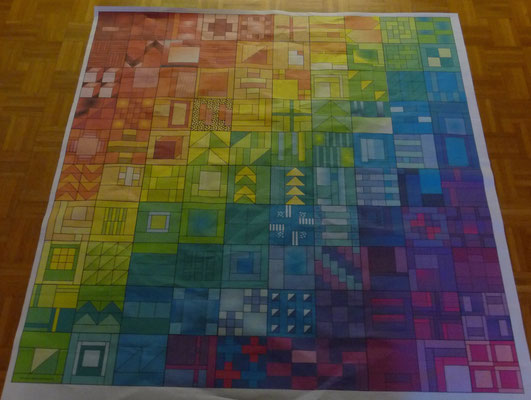 "City Sampler Mandala bunt als pdf in XXL   60"" x 60"", Originalgrosz aus Papier geklebt."