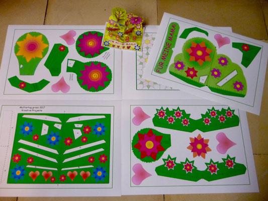 """Mit den Schülerinnen wollen wir bei """"Kreative Projekte"""" Muttertageskarten kleben."""