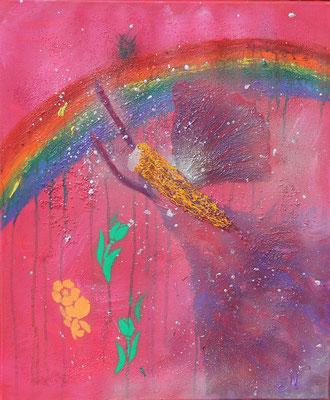 Regenbogenelfe der Lebensfreude   Größe 50x60cm