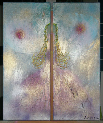 Engel der Kreativität   Größe 40x50cm (auf zwei Leinwände aufgeteilt)