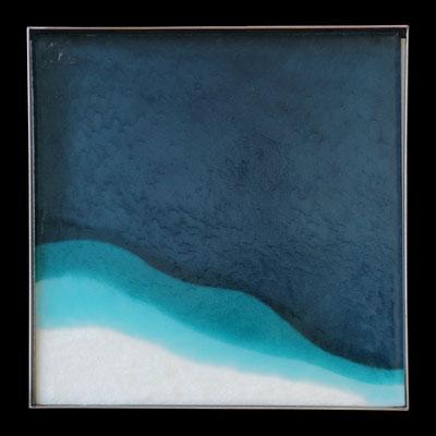 Tauwetter am Oeschinensee II, gefustes Glas, Metallrahmen, 45 x 45 x 4 cm