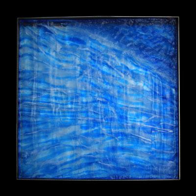 Eishöhle I, formgeschmolzenes Glas, Metallrahmen, 45 x 45 x 4 cm
