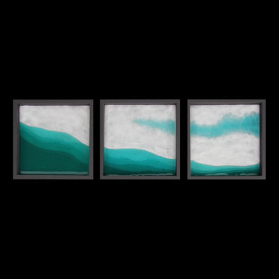 Bergsee im April, gefustes Glas, je 20 x 20 x 3 cm