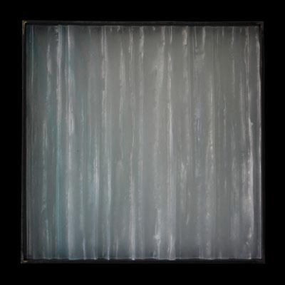 Frostwind,formgeschmolzenes  Glas, Metallrahmen, 45 x 45 x 6 cm
