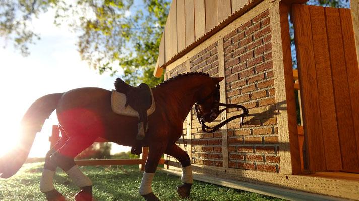 Hier können die Pferde aufgesattelt werden- Pferdestall für Schleich