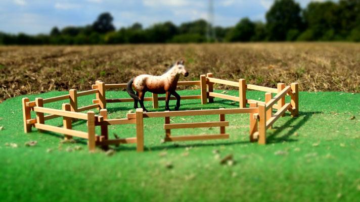 Als Pferdekoppel. Das Holzzaun Set für Modell Pferde- Im Maßstab von Schleichpferden