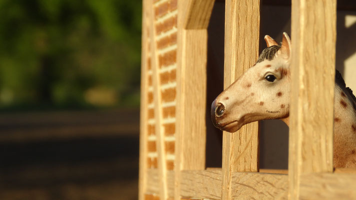Das Eichenfachwerk der Stall-Außenwände- Pferdestall für Schleich