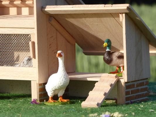 Gänse und Enten Stall für Schleich