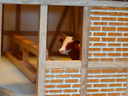 Echtes Eichenfachwerk und Ziegelmauerwerk (aus Holz).