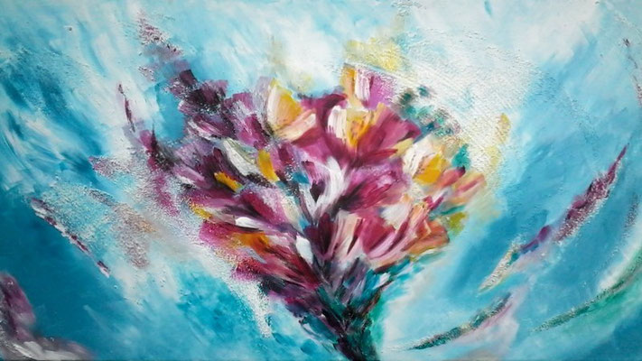 Flowers Buket   100x50 cm   Acryl, Strukturpaste auf Leinwand   € 200,00