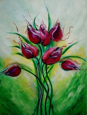 Tulpen Strauß   40x30 cm   Acryl auf Leinwand   € 70,00