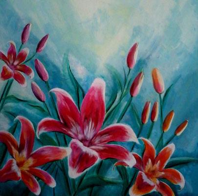 Lilien Sinfonie    80x80 cm   Acryl auf Leinwand   € 250,00