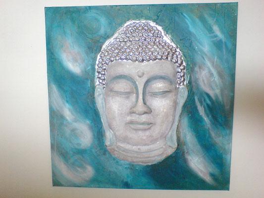 Buddha in Hellblau- Weiß-Stein- Silber Töne und Chromlack   60x60 cm ( Bild hatte ursprünglich Braun- Kupfertöne)