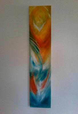 Abstract in Gelb-Orange- Blau Töne   140x20cm ( Bild war beige mit 3 braunen Buddhas)