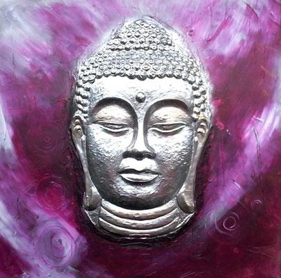 Buddha in Magenta- Weiss-Silber Töne und Chromlack   60x60 cm ( Bild hatte ursprünglich Braun-Kupfertöne)