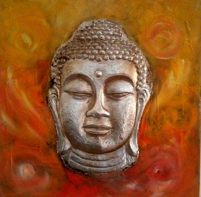 Buddha in Orange- Gelb- Gold Töne und Goldlack   60x60 cm ( Bild hatte ursprünglich Braun- Kupfertöne)
