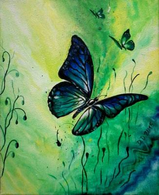 Butterfly in Green   30x24cm   Acryl auf Leinwand   € 50,00