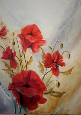Mohnblumen Sinfonie   70x50 cm  Acryl auf Leinwand   € 150,00
