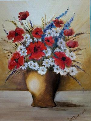 Mohn & Margeriten in Vase  40x30 cm   Acryl auf Leinwand  € 70,00
